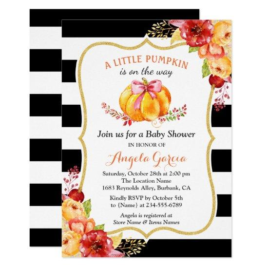A Little Pumpkin is On the Way | Girl Baby Shower Card