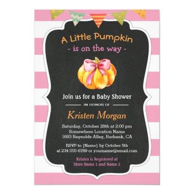 A Little Pumpkin is on the Way Girl Invitations