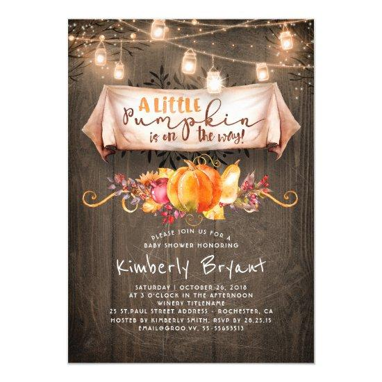 A Little Pumpkin Is On The Way Rustic Baby Shower Card