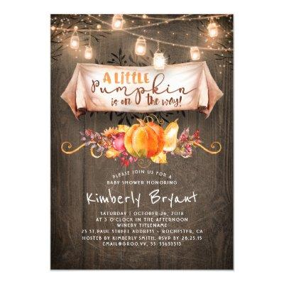 A Little Pumpkin Is On The Way Rustic Baby Shower Invitations