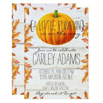 A Little Pumpkin Rustic Baby Shower Invitation