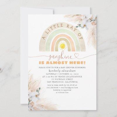 A Little Ray of Sunshine - Rainbow Baby Shower Invitation