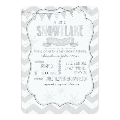 A Little Snowflake Baby Shower Invitation