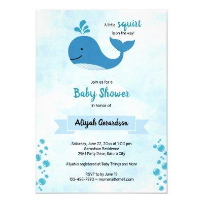 A Little Squirt Baby Whale Baby Shower Invitation