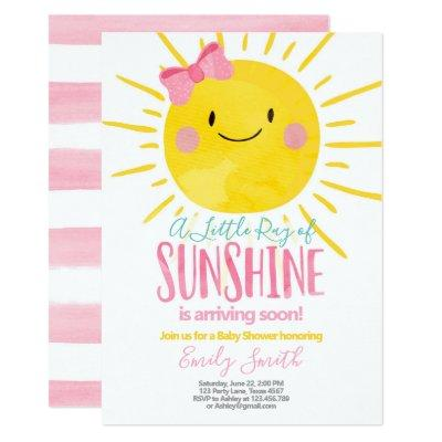 A Ray Of Sunshine Little Girl Pink Baby Shower Invitation