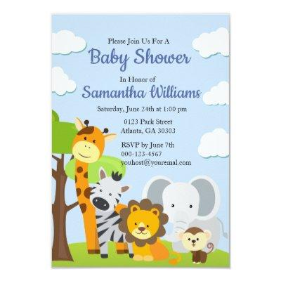 Adorable Animal Friends Baby Shower Invitations