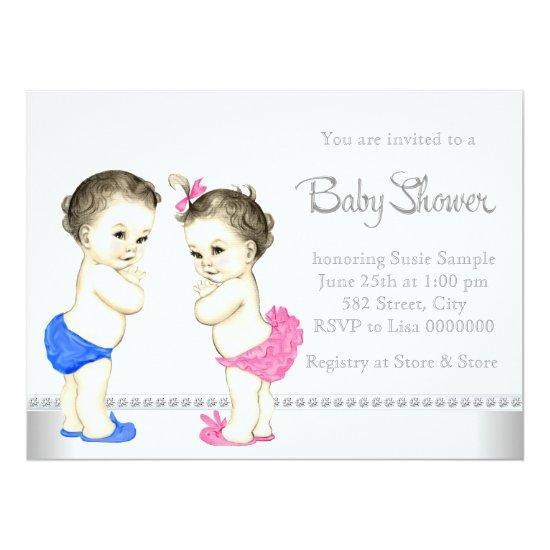 Adorable Babies Pink And Blue Twin Baby Shower Card Baby Shower