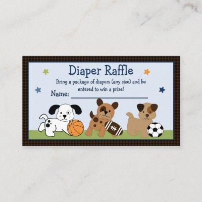Adorable Bow Wow Puppy Sport Diaper Raffle Tickets Enclosure Card