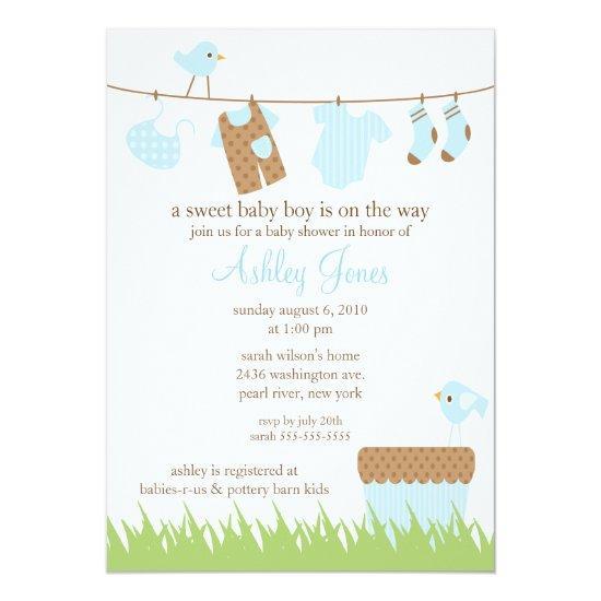 Adorable Clothesline Boy Baby Shower Card