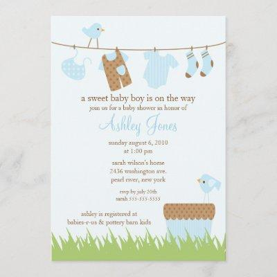 Adorable Clothesline Boy Baby Shower Invitation