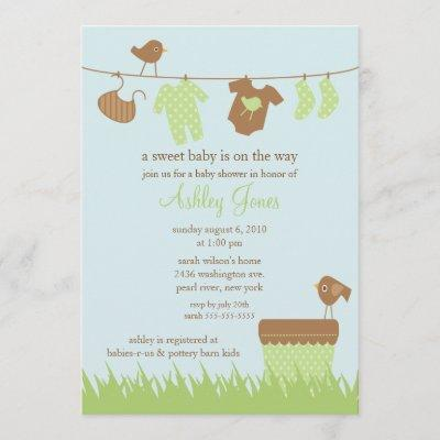 Adorable Clothesline Gender Neutral Baby Shower Invitation