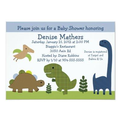 Adorable Dino/Dinosaurs Baby Shower Invitations
