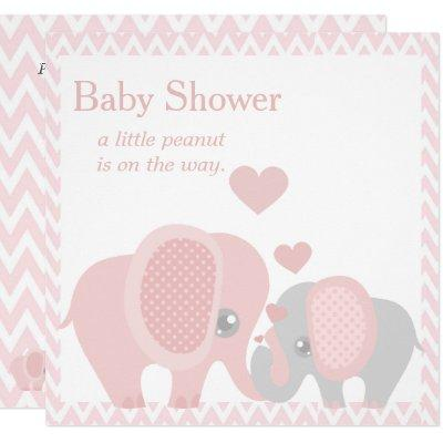Adorable Elephants, Baby Girl Shower Invitations
