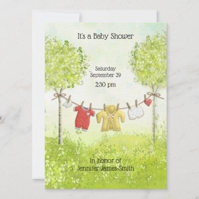 Adorable Gender Neutral Baby Clothes Shower Invitation