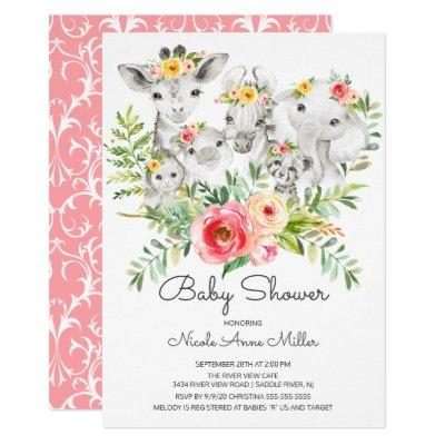 Adorable Jungle Animals Baby Shower Invitation