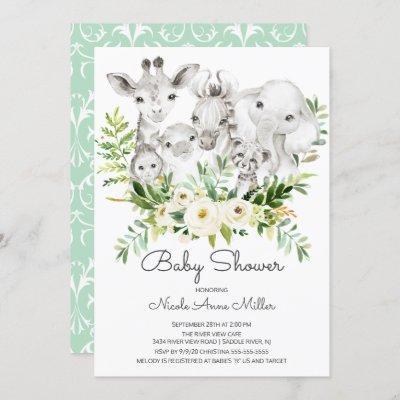 Adorable Jungle Animals Baby Shower Invitation