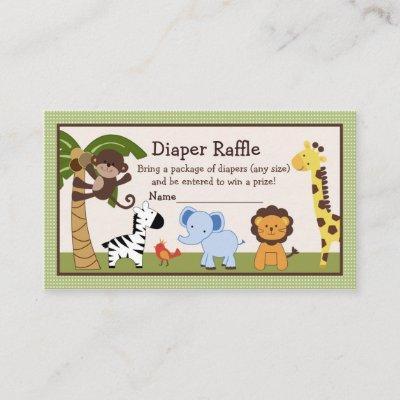 Adorable Jungle Buddies Diaper Raffle Tickets Enclosure Card