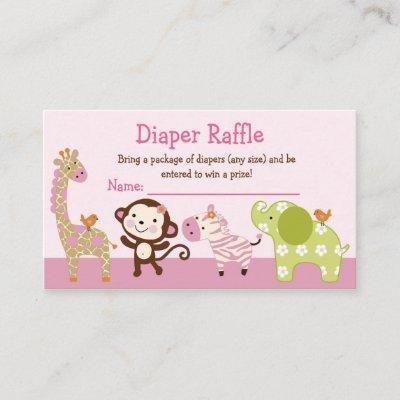 Adorable Jungle Jill Animals Diaper Raffle Tickets Enclosure Card