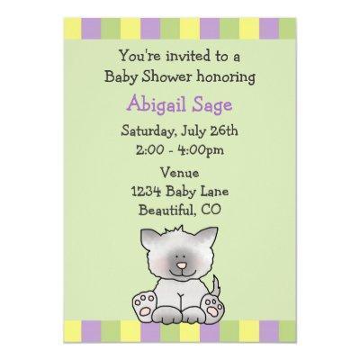 Adorable Kitten Baby Shower Invitations for Girls