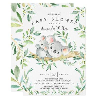 Adorable Koala Bear Baby Shower Invitation