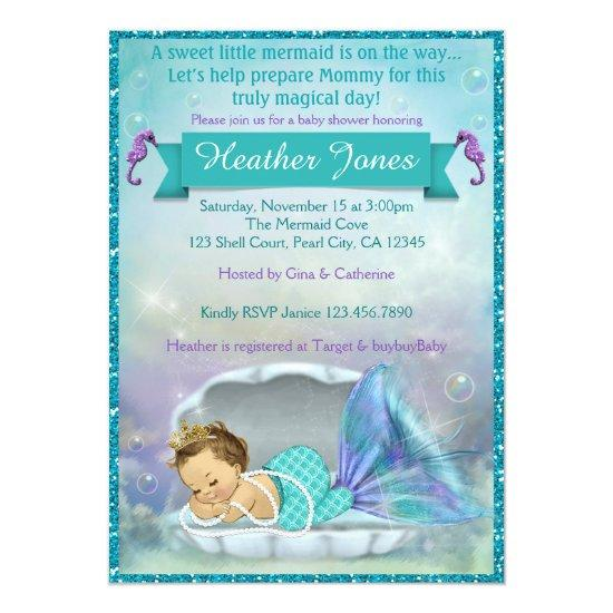 Adorable Mermaid Baby Shower Invitations #130
