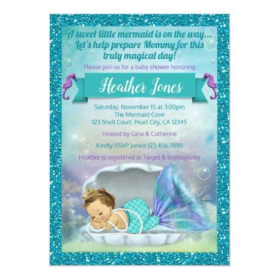 b486ca37d93f Adorable Mermaid Baby Shower Invitations 130 Light
