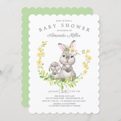 Adorable Mom & Baby Bunny Neutral Baby Shower Invitation