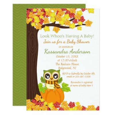 Adorable Owl On A Pumpkin Baby Shower Invitation