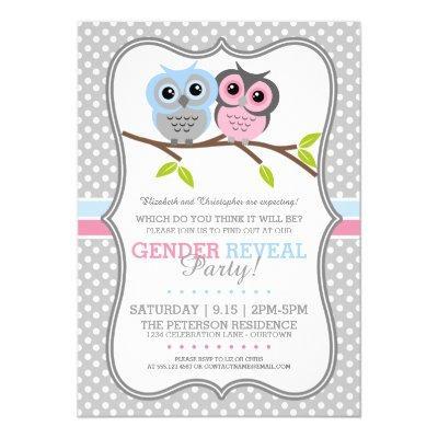 Adorable Owls Gender Reveal Invitations