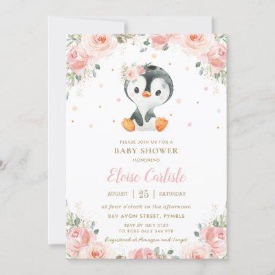 Adorable Penguin Blush Floral Girl Baby Shower Invitation