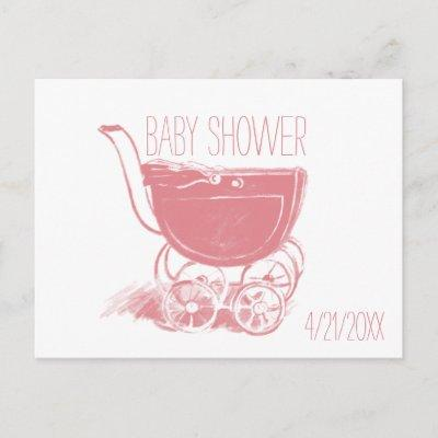 Adorable Pink Baby Girl Carriage Retro Baby Shower Invitation Postcard