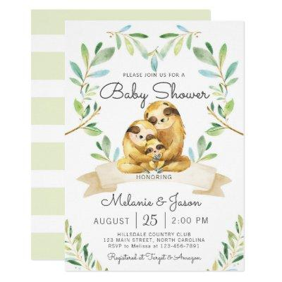 Adorable Sloth Baby Shower Invitation