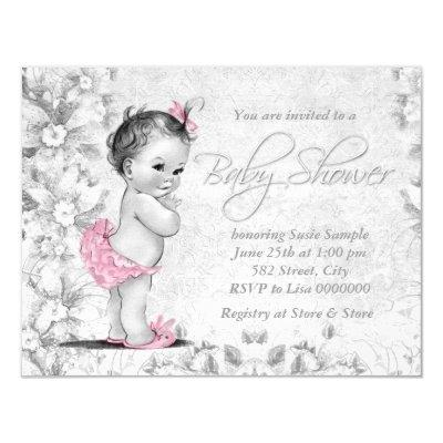 Adorable Vintage Pink and Gray Baby Shower Invitations