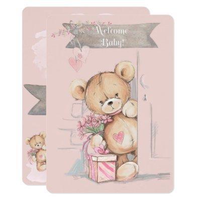Adorable Watercolor Teddy Bear Baby Shower Invitation