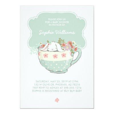 Adorable White Bunny in a Tea Cup
