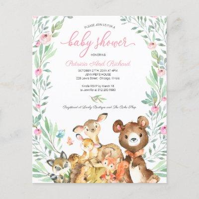 Adorable Woodland Baby Shower Budget Invitation