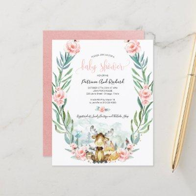 Adorable Woodland Baby Shower Budget Invitations