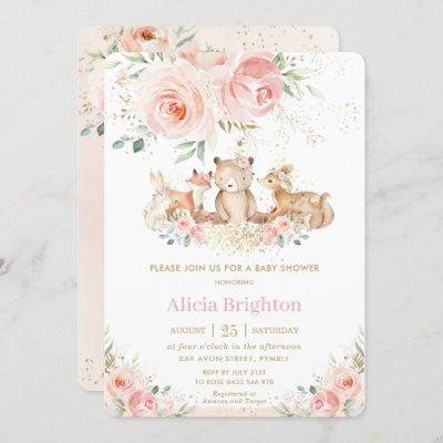 Adorable Woodland Blush Floral Girly Baby Shower Invitation