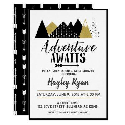 Adventure Awaits arrow mountain Baby Shower Invite
