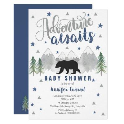 Adventure Awaits Baby Shower Invitation Navy