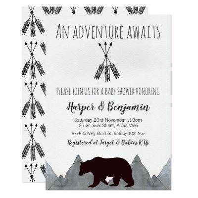 Adventure Awaits Bear Baby Shower Invitations