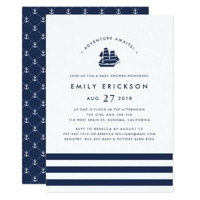 Adventure Awaits | Nautical Baby Shower Invitations