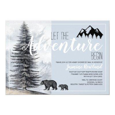 Adventure Awaits Rustic Bears Baby Shower By Mail Invitation