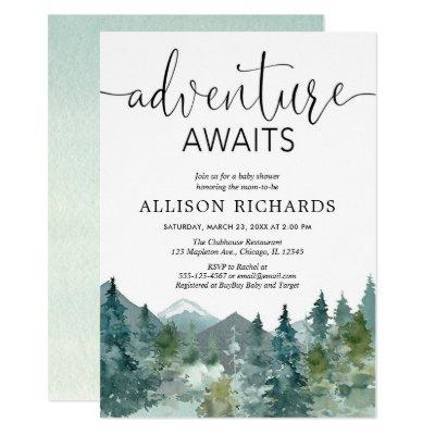 Adventure awaits rustic woodland baby shower Invitations