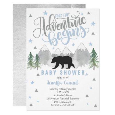 Adventure Baby Shower Invitation, Black Bear Baby Invitation