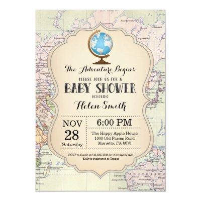Adventure Baby Shower Invitations Map Travel World