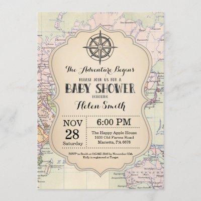 Adventure Baby Shower Invitation Map Travel World