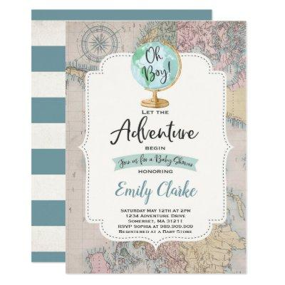Adventure Begins Baby Shower Invitations Map Shower