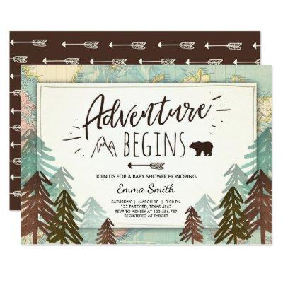 Adventure Begins Baby shower Invitations Travel map