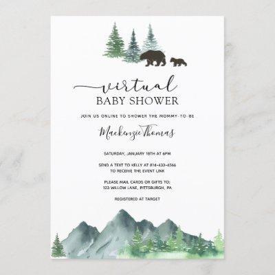 Adventure Begins Bear Virtual Baby Shower Invitation